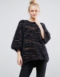 Monki Oversized Knitted Mixed Stitch Jumper Black And Pink Multi