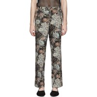 Dries Van Noten Black And Green Floral Trousers