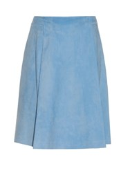 Adam By Adam Lippes Lamb Suede Midi Skirt Light Blue