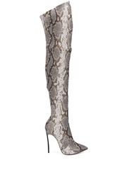 Casadei Over The Knee Animal Print Boots Neutrals
