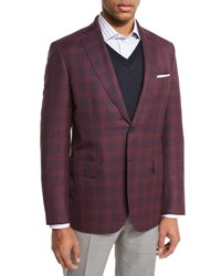 Brioni Plaid Two Button Sport Coat Red Navy