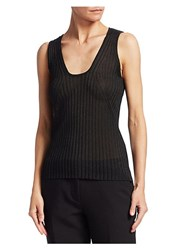 Emporio Armani Rib Knit Tank Top Black