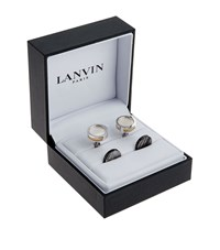 Lanvin Interchangeable Mother Of Pearl Circle Cufflinks Unisex Silver
