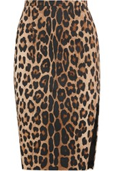 Altuzarra Faun Leopard Print Stretch Cotton Pencil Skirt Animal Print