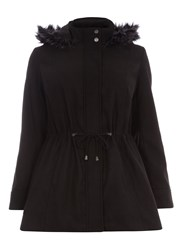 Evans Black Fur Trim Parka Coat