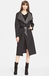 Veda 'Loop' Wool Wrap Coat With Leather Trim Greys