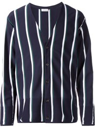 En Route Striped Pique Cardigan Blue