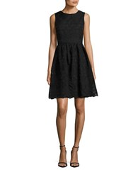 Tommy Hilfiger Sleeveless Floral Embroidered Fit And Flare Dress Black