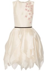 Reem Acra Layered Floral Appliqued Organza Mini Dress Cream