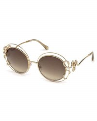 Roberto Cavalli Round Open Inset Snake Sunglasses Gold Brown