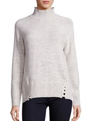 Rebecca Taylor Lace Up Turtleneck Sweater Ecru Combo