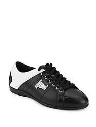 Versace Leather Lace Up Sneakers Black White