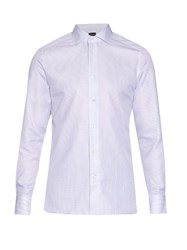 Ermenegildo Zegna Broken Hairline Stripe Cotton Shirt
