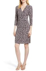 Anne Klein Large Dot Draped Front Dress Nantucket Grey Oyster Shell
