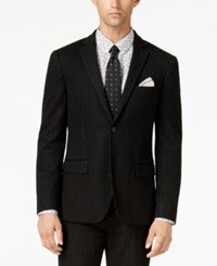 Bar Iii Men's Slim Fit Black Stripe Knit Suit Jacket Created For Macy's
