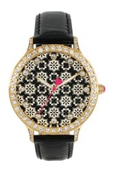 Betsey Johnson Women's Mosaic Crystal Croc Embossed Leather Strap Watch Black