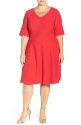 London Times Plus Size Women's Textured Fit And Flare Dress