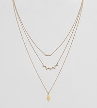 Accessorize Geo Layered Pendant Necklace Gold