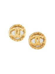 Chanel Vintage Cc Logo Button Clip On Earrings Metallic