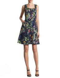 Ivanka Trump Tropical Floral Fit And Flare Dress Evening Blue