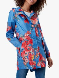 Joules Golightly Pack Away Floral Waterproof Parka Coat Blue