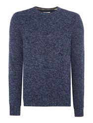 Original Penguin Mouline Lambswool Crew Neck Knitted Jumper Navy