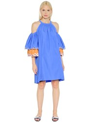 Peter Pilotto Open Shoulders Embroidered Poplin Dress