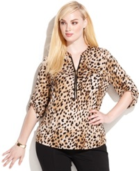 Calvin Klein Plus Size Animal Print Zipper Neck Top