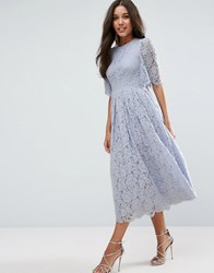 Asos Flutter Sleeve Lace Prom Dress Baby Blue