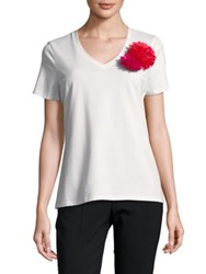 Imnyc Isaac Mizrahi V Neck Short Sleeve Floral Applique Tee White