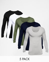 Asos Extreme Muscle Long Sleeve T Shirt With Scoop Neck 5 Pack Save 25 Multi