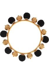 Dolce And Gabbana Gold Plated And Woven Bangle Black