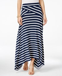Inc International Concepts Petite Asymmetrical Stripe Maxi Skirt Only At Macy's Navy