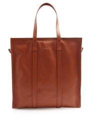 Balenciaga Bazar Medium Leather Tote Tan