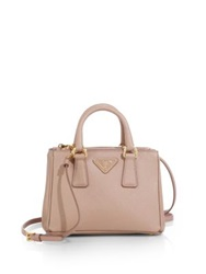 Prada Saffiano Lux Mini Satchel Platino Gold Cromo Chrome
