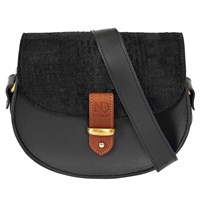 N'damus London Victoria Black Cow Fur Cross Body Bag