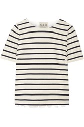 Sea Striped Cotton And Broderie Anglaise T Shirt Cream