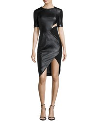Thierry Mugler Short Sleeve Cutout Faux Leather Dress Black