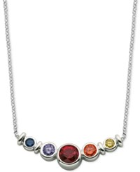 Giani Bernini Multi Color Cubic Zirconia Bezel Set Necklace In Sterling Silver Only At Macy's