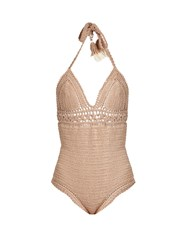 She Made Me Farah Halterneck Crochet Swimsuit Beige