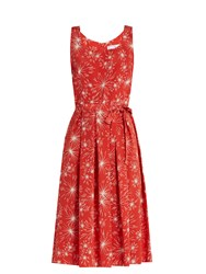 Hvn Jordan Firework Print Sleeveless Dress Red White