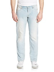 Armani Jeans Distressed Slim Leg Jeans Denim