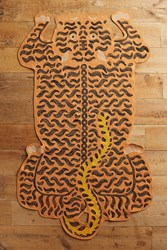 Anthropologie Embroidered Tiger Rug Maize