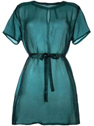 Minimarket Semi Sheer Tie Up Shirt Dress Green