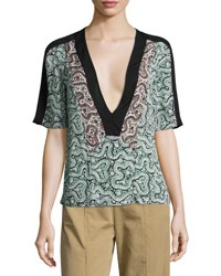 A.L.C. Lilias Short Sleeve Abstract Silk Top Green Green Pattern