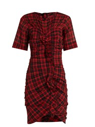 Etoile Isabel Marant Wallace Checked Cotton Blend Mini Dress Red Multi