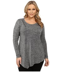Dkny Plus Size Shirred Asymmetric Top W Zipper Detail Pebble Women's T Shirt Beige