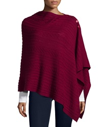 Neiman Marcus Cashmere And Wool Cable Knit Button Poncho Merlot Zy4