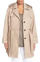 Plus Size Women's Via Spiga 'Scarpa' Single Breasted Trench Coat Sand