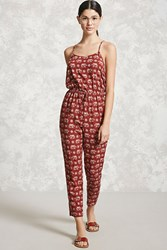 Forever 21 Elephant Print Jumpsuit Rust Tan